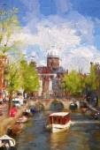 Amsterdam city in Holland, artwork in painting style — Stock Photo