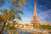 Eiffel Tower in Artwork style during spring time in Paris, France — Stock Photo