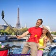 Couple Taking Selfie by Eiffel Tower in Paris, France — Stock Photo #70712055