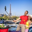 Couple Taking Selfie by Eiffel Tower in Paris, France — Stock Photo #70712159