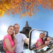 Couple Taking Selfie by Eiffel Tower in Paris, France — Stock Photo #70712197