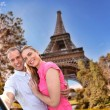 Couple Taking Selfie by Eiffel Tower in Paris, France — Stock Photo #70712253