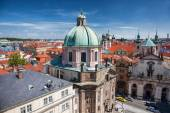 Prague with churches in Czech Republic — Stock Photo