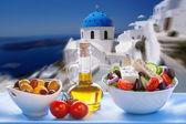 Greek salad in Santorini island in Greece — Stock Photo