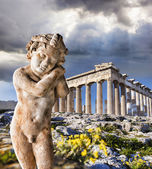 Acropolis with sculpture and Parthenon temple in Athens, Greece — Stock Photo
