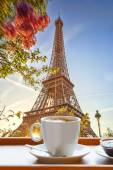 Eiffel Tower with cup of coffee in art style, Paris, France — Stock Photo
