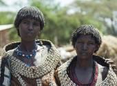 Traditionally dressed women from Tsemay tribe. Weita. Omo Valley. Ethiopia — Stock Photo