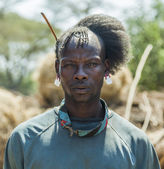 Traditionally dressed man from Tsemay tribe. Weita. Omo Valley. Ethiopia. — Stock Photo
