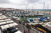 Yachts motorboats and fishing vessels in Old Jaffo Port. Tel Avi — Stock Photo