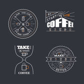 Coffee Quotes Lettering Badge Style — Stock Vector