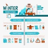 Winter Driving packing list — Stock Vector