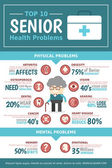 Senior Health problems Infographics — ストックベクタ