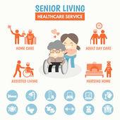 Senior Living health care service — Stock Vector