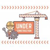Trabajador con mensaje en construcción — Vector de stock