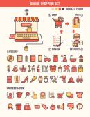 Online shopping infographic elements for kid — Stock Vector