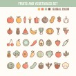 Fruits and vegetables outline icon set — Stock Vector #78991610