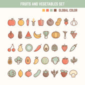 Fruits and vegetables outline icon set — Stock Vector