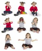 Set of baby girl sitting and making gestures — Stock Photo