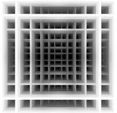 Three dimensional shape - black and white squares — Stock Photo