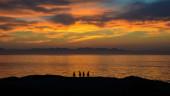 Sunrise With Penguins — Stock Photo