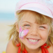 Happy face of little girl with face painting  — Stock Photo #56693191