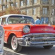 Old red Chevrolet on exhibition of vintage cars in celebration of the 425th anniversary of the city — Stock Photo #53123309