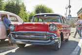 Old red Chevrolet on exhibition of vintage cars in celebration of the 425th anniversary of the city — Stock Photo