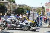 Machine to race across rugged terrain at an exhibition under the open sky — Foto Stock