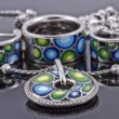 Set of silver jewelry : ring, earrings and pendant — Stok fotoğraf #58817975