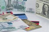 Russian ruble, us dollar and plastic credit cards — Stock Photo