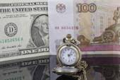 Weakening of the ruble exchange rate to the dollar — Stock Photo