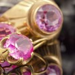 Gold earrings and a ring with ruby — Stock Photo #62714705