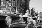 Exhibition of vintage cars in celebration — Stock Photo