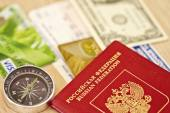 Fees are on a long trip required items : passport, Bank card and — Stock Photo