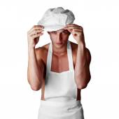 Muscleman cook — Stock Photo