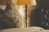 Pillows on an antique luxury bed — Stock Photo