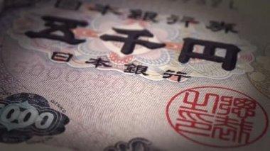 Close-up de ienes japoneses — Vídeo stock