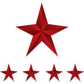 Shiny Red Stars. Form of first. Illustration for design on white background — Stockvektor