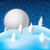 Vettore di inverno scena, bianco neve e azzurro cielo. — Vettoriale Stock