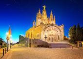 Tibidabo church on mountain in Barcelona — Stock Photo