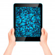 Butterfly flying out from tablet computer — Stock Photo #53995149