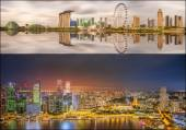 Set of Singapore Skyline and view in Marina Bay — Stock Photo