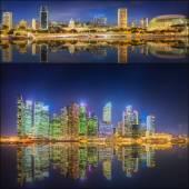 Singapore Skyline en weergave in Marina Bay — Stockfoto