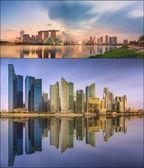 Set di Skyline di Singapore e vista a Marina Bay — Foto Stock