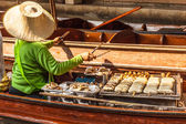 Grilled bananas in Floating market — Stock Photo