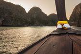 Long tail boat at dusk — Stock Photo