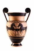 Ancient apulian vase over white — Stock Photo