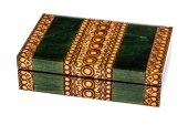 Wooden inlay green casket — Stock Photo