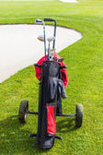 Golf bag and bunker — Stock Photo