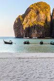 Maya beach with long tail boats — Stock Photo